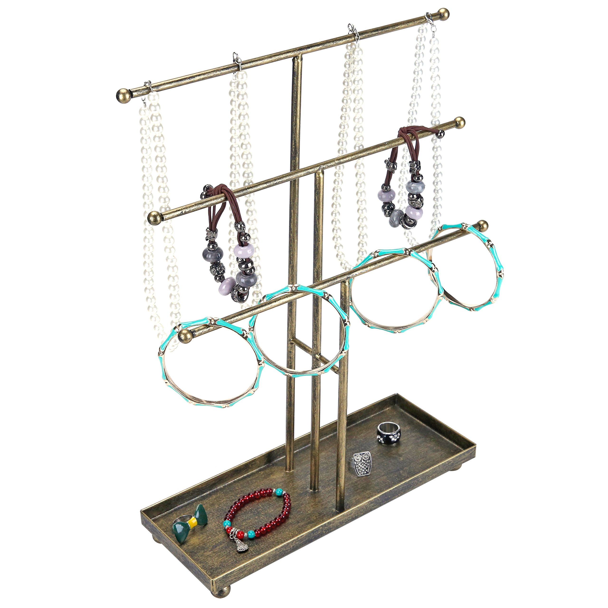 3 Tier Metal Rod Jewelry Organizer and Display Stand with Antique Matte Brass Finish