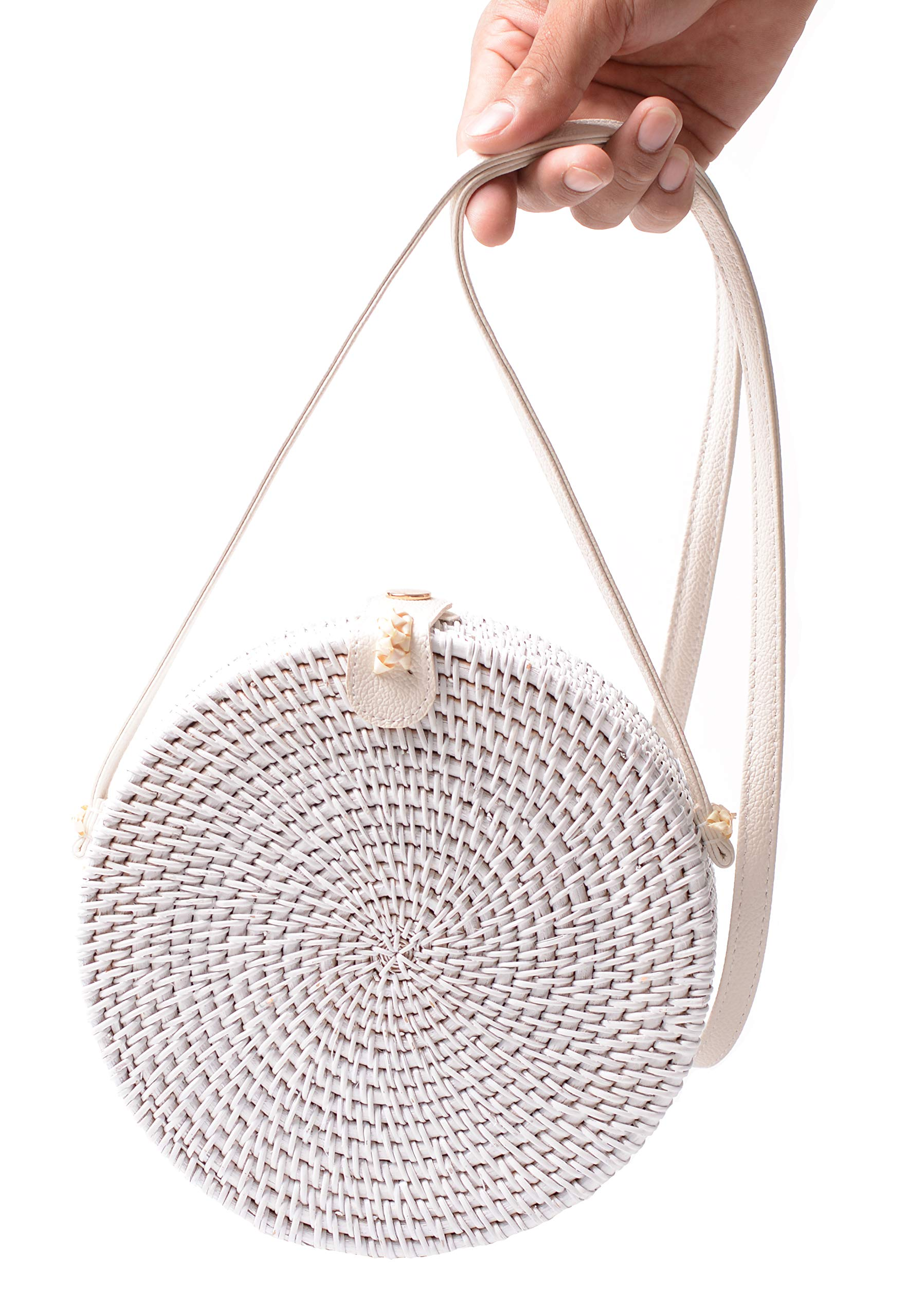 Handwoven Round Rattan Bag Shoulder Leather Straps Natural Chic Hand Gyryp (Leather buttons(white))
