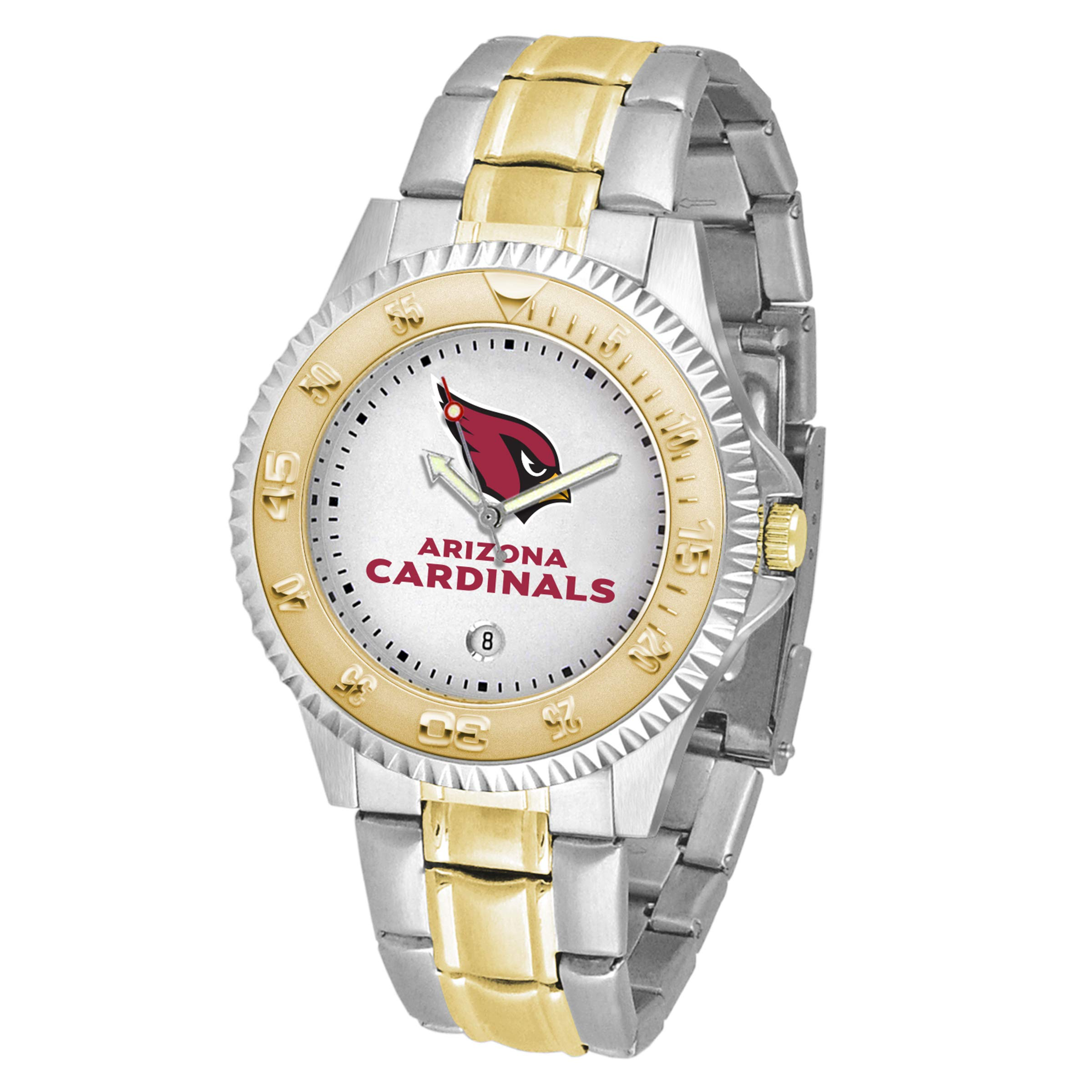 Game Time NFL Arizona Cardinals Mens Two-Tone CompetitorWrist Watch, White, One Size