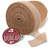 """Burlap Ribbon 4"""" x 100 Yards with Fringed & Rustic Edges. Perfect Burlap Ribbons Roll for Burlap Bows, Wreaths, and Crafts."""