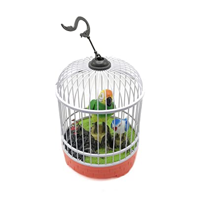 YMANX Simulated Bird cage, Real Sound and Action Sound, Voice-Activated Sensing, with Light. (Orange red): Toys & Games