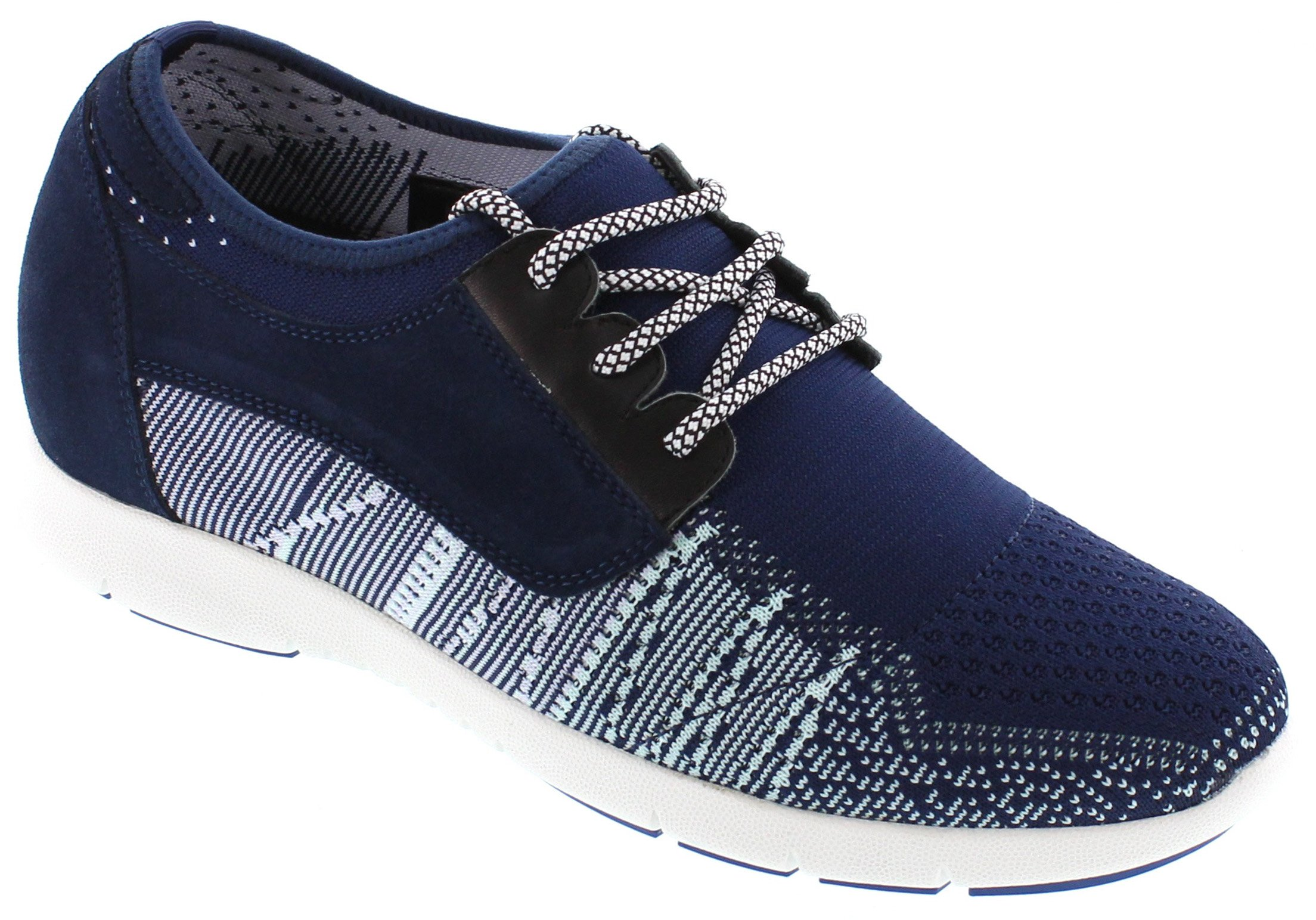 TOTO D62107-2.8 inches Taller - Size 9 D US - height Increasing Elevator Shoes - Navy Blue Lace-up Super Lightweight Sneaker