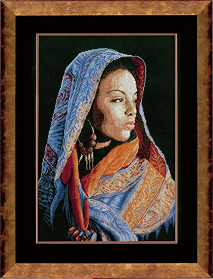 14 Count Counted Cross Stitch Kit Gypsy Girl Vervaco PN-0144529 41 x 50cm