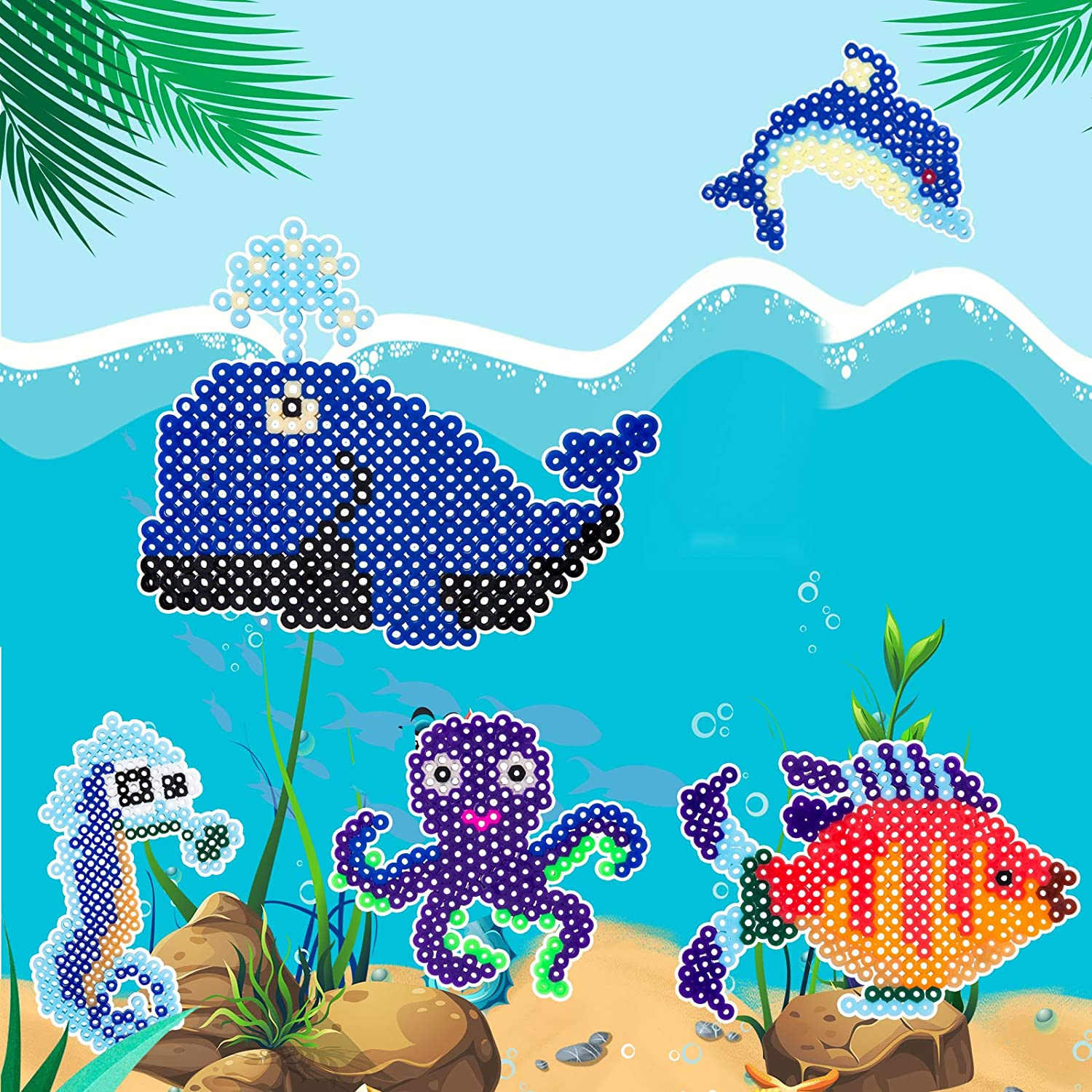 LIHAO Fuse Beads Boards 5 Pieces Fuse Beads Pegboard Animal Shape Fish Dolphin Shape Plastic Beads Pegboard with Template for Kids Craft Beads