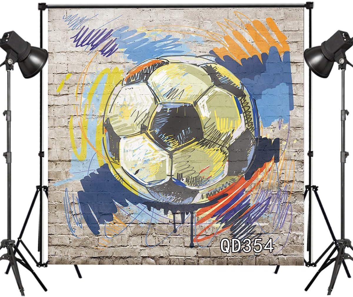 LB Graffiti Football Backdrop for Photography 10x10ft Brick Wall Portrait Photo Background Studio Prop Vinyl Customized QD354