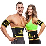 Fittest Pro Waist Trimmer Ab Belt (1 Piece) And Arm Trimmer (1 Pair) Bundle Package - Slimming Flex & Sauna Belt Promotes Belly Fat Burning for Weight Loss & Acts as an Ab Trainer for Abdomen Support