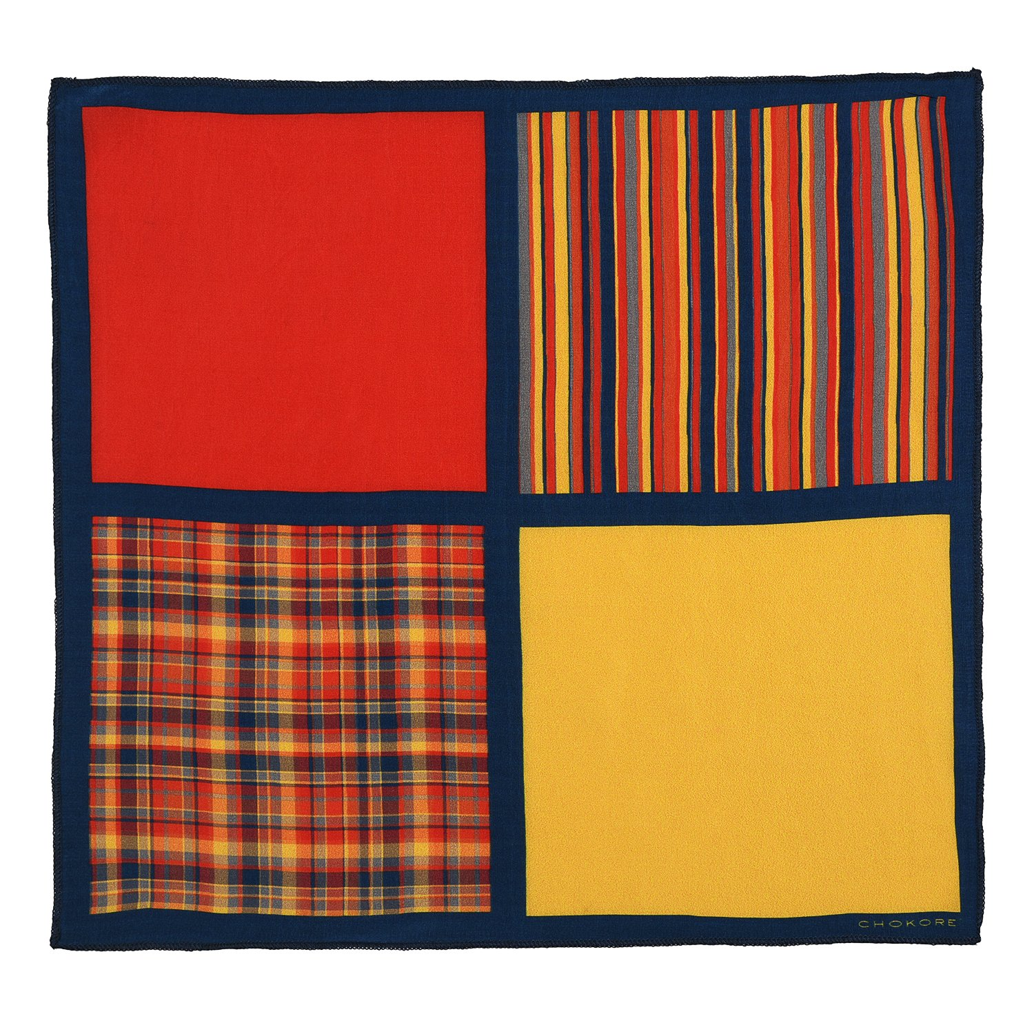 Chokore Two-in-One Red /& Yellow Silk Pocket Square from the Plaids Line