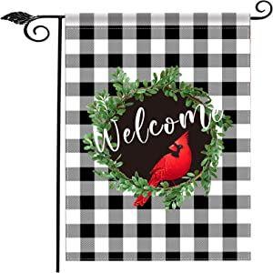 "TOMUM Christmas Garden Flag with Cardinal Red Bird,Buffalo Plaid Burlap Double Sided Welcome Garden Flag for Farmhouse Outdoor Lawn House Outside Decorations (12.5"" x 18"")"