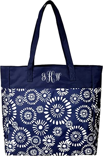 High Fashion Print Tote Bag – Personalization Available Monogrammed Riley Navy