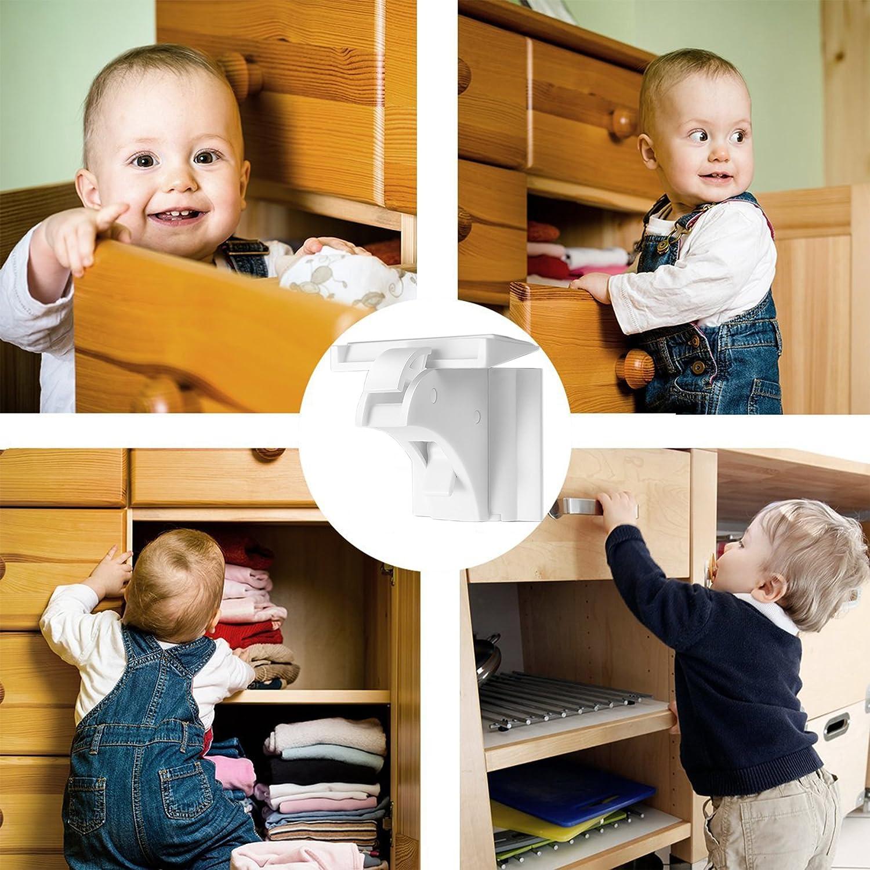 4 Schl/össer mit 1 Schl/üssel Unsichtbare Kindersicherung Schrankschloss /& Schubladensicherung Magnet BETENSE Baby Sicherheit Magnetisches Schrankschloss Ohne Bohren und Schrauben