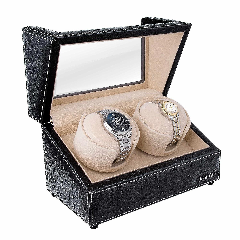 Doble Reloj devanadera -Estuche bobinadora para 2 Relojes, en Concha de Madera y Cuero Negro, Motor japonés, Ajuste de 4 Modos de rotación, ...