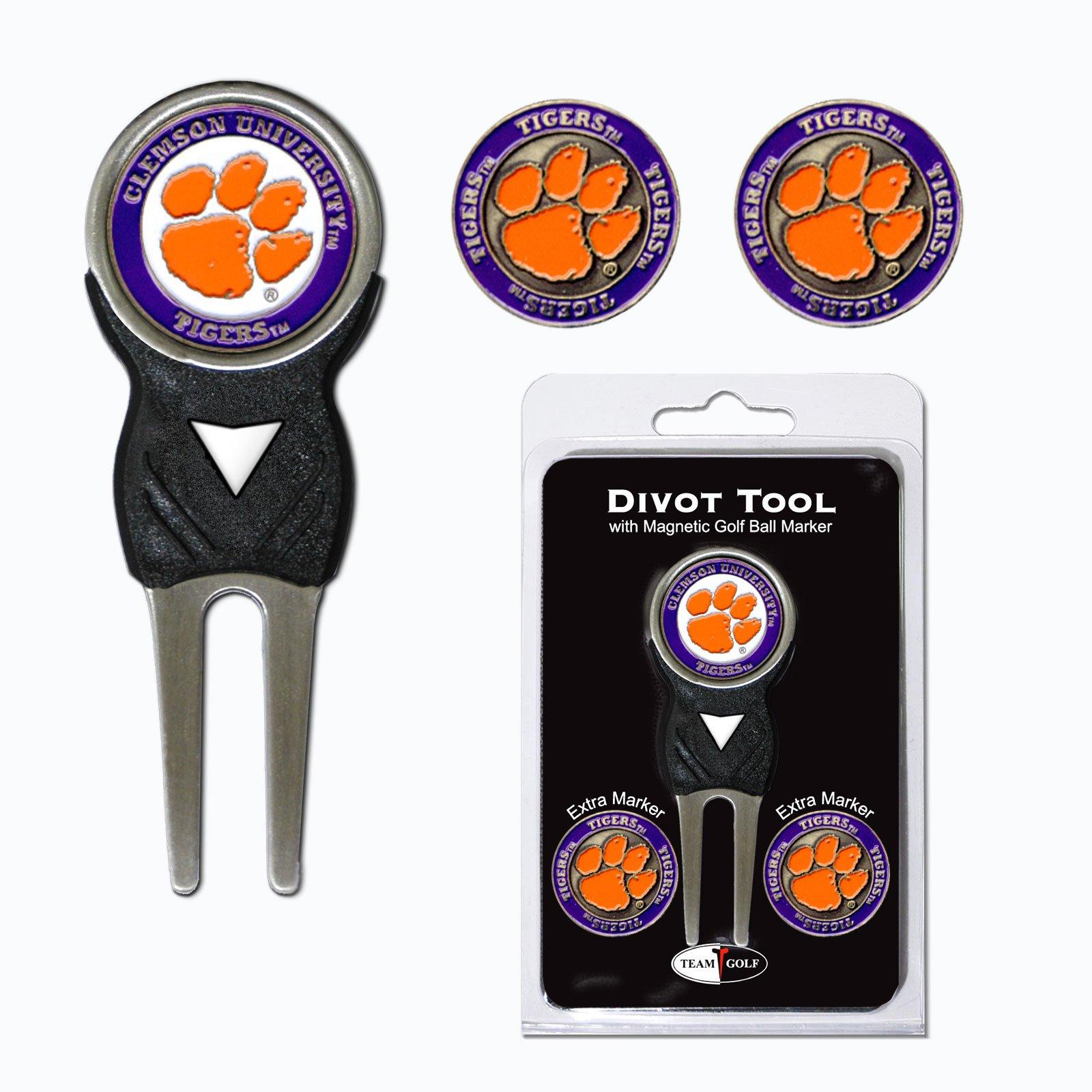 Clemson University Tigers 3 Marker Signature Divot Tool Pack by Team Golf