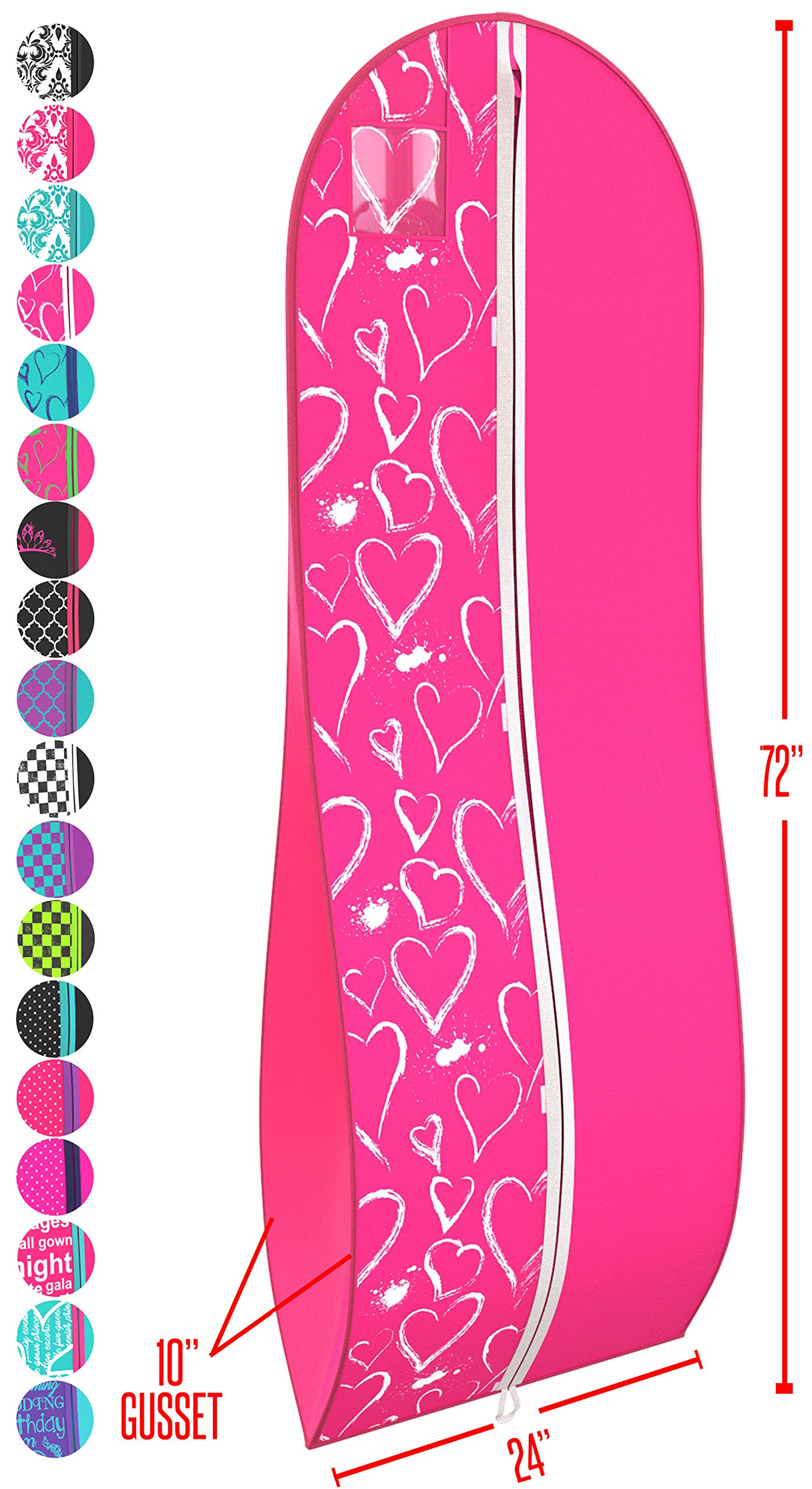 Women's Dress and Gown Garment Bag - Fuchsia and White Hearts -by Your Bags