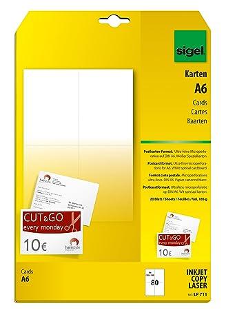 Sigel LP711 Blanko Karten / Postkarten Weiß, A6, Beidseitig Bedruckbar, 185  G,