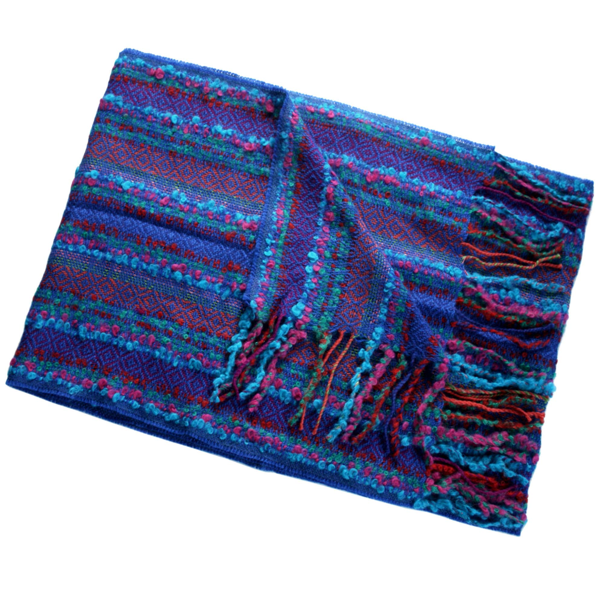 100% Baby Alpaca Woven Scarf ~ Natural Fiber Wrap for Women and Men~ Blue/Multicolor