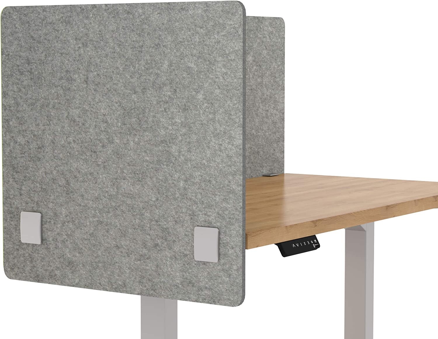 "VaRoom Acoustic Partition, Sound Absorbing Desk Divider – 24"" W x 24""H Privacy Desk Mounted Cubicle Panel, Ash Grey"