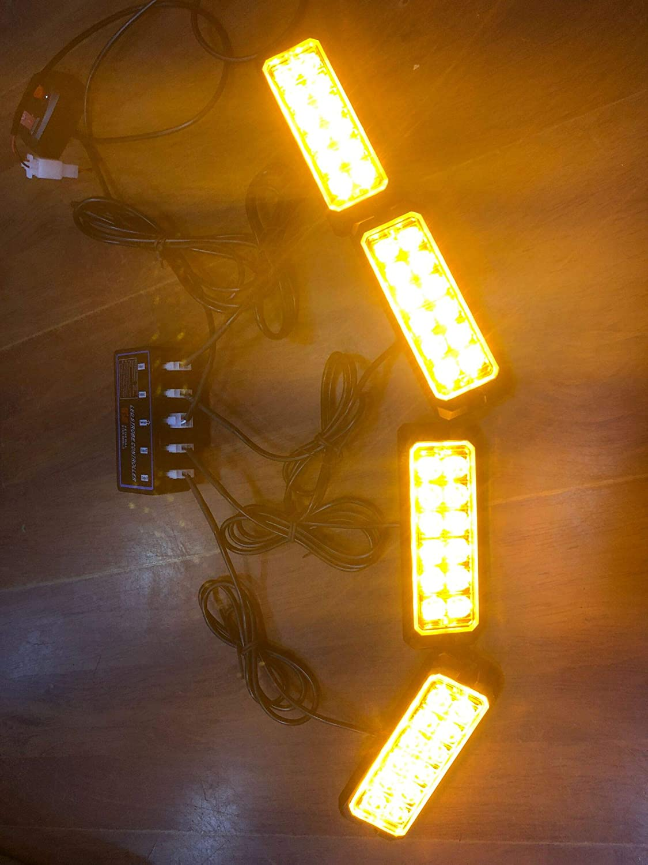 Amber 4PCS Linkitom 12-24V 12-LED Super Bright Sync Feature Emergency Hazard Warning Strobe Lights with Main Control Box Surface Mount