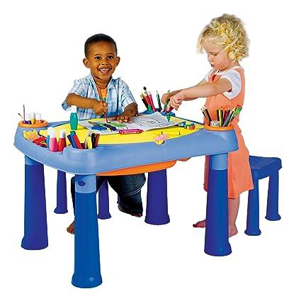 KETER M675 - Kreativ-Spieltisch mit 2 Hockern zum Aufbewahren von Stiften, Farben, Pinsel, Knete