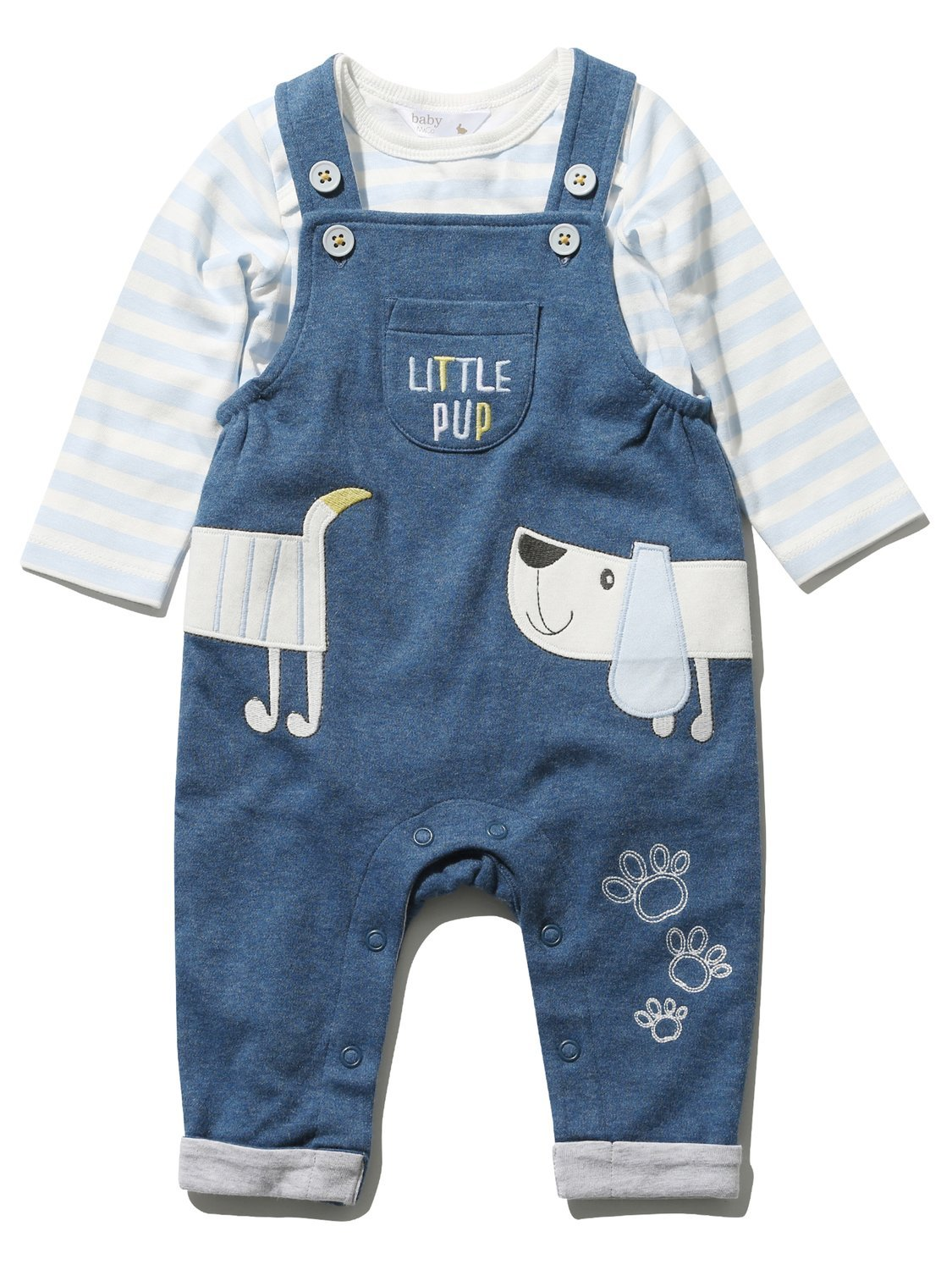 M&Co Newborn Baby Boy Cotton Blue Chambray Sausage Dog Applique Dungarees & Long Sleeve Top Set