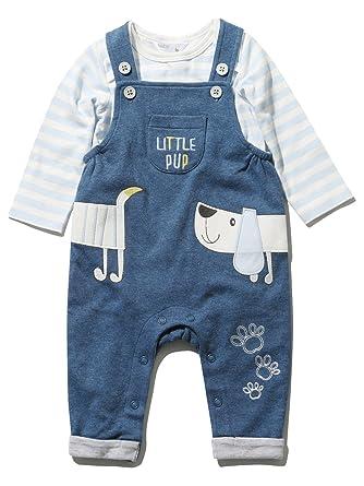 39257faba M Co Newborn Baby Boy Cotton Blue Chambray Sausage Dog Applique ...