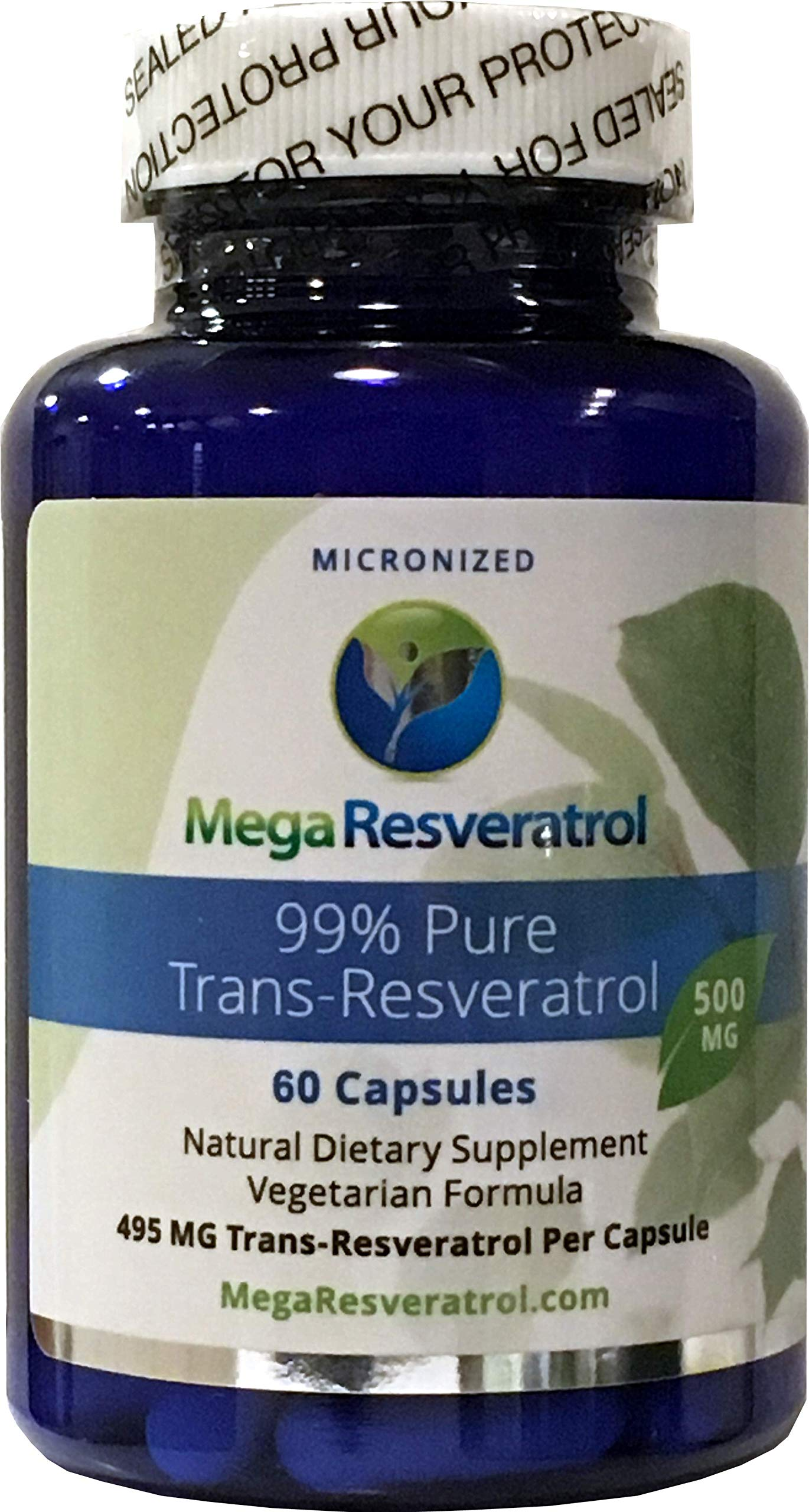 Mega Resveratrol, Pharmaceutical Grade, 99% Pure Micronized Trans-Resveratrol, 60 Vegetarian Capsules, 500 mg per Capsule. Purity Certified. Absolutely no excipients (aka Inactive Ingredients) Added by Mega Resveratrol