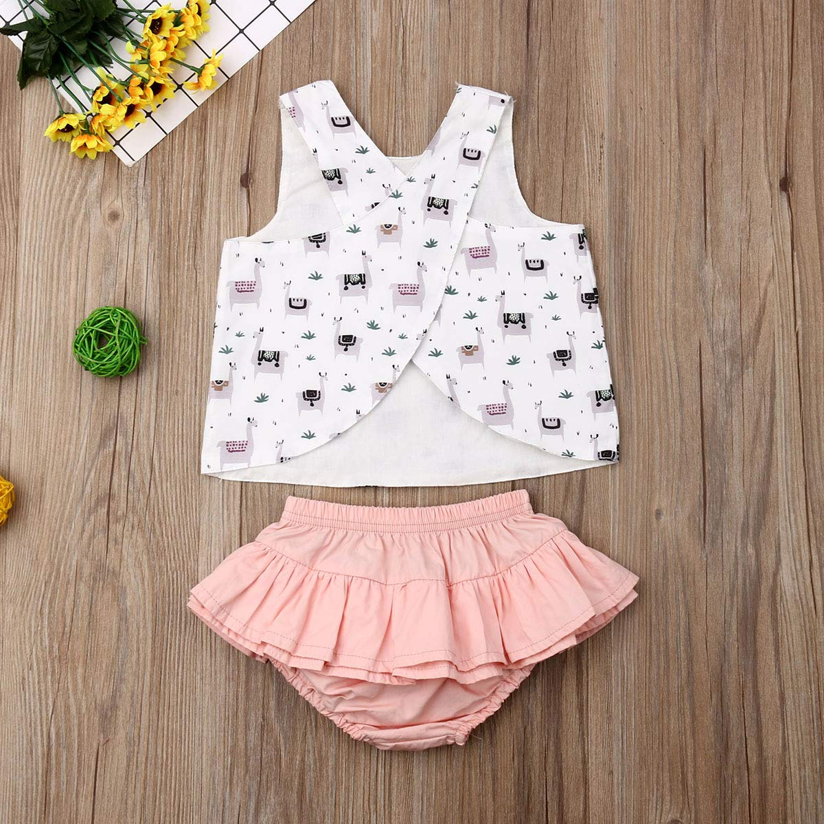 Ruffle Skirt Kids Sets for 0-3years 2Pcs Baby Girl Floral Vest Sleeveless Toddler Top