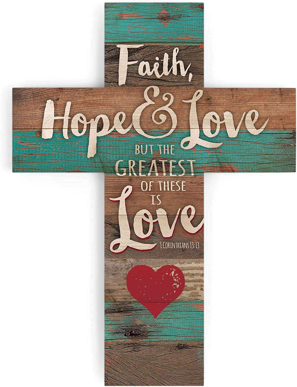 P. Graham Dunn Faith Hope & Love Red Heart Rustic 14 x 10 Wood Wall Art Cross Plaque