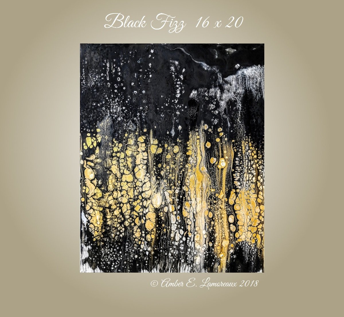 Amazon com abstract painting black fizz fine art acrylic canvas impasto modern art black gold painting 16 x 20 pour painting art black abstract