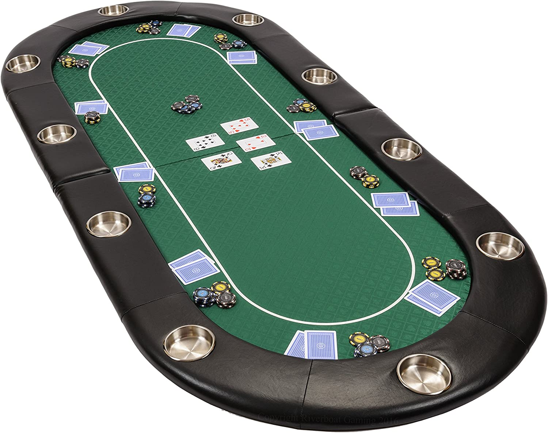 Riverboat Gaming El 'Riverboat' Mesa de póquer Plegable Profesional - Tablero de Poker en Suited Speed Cloth Verde 200cm