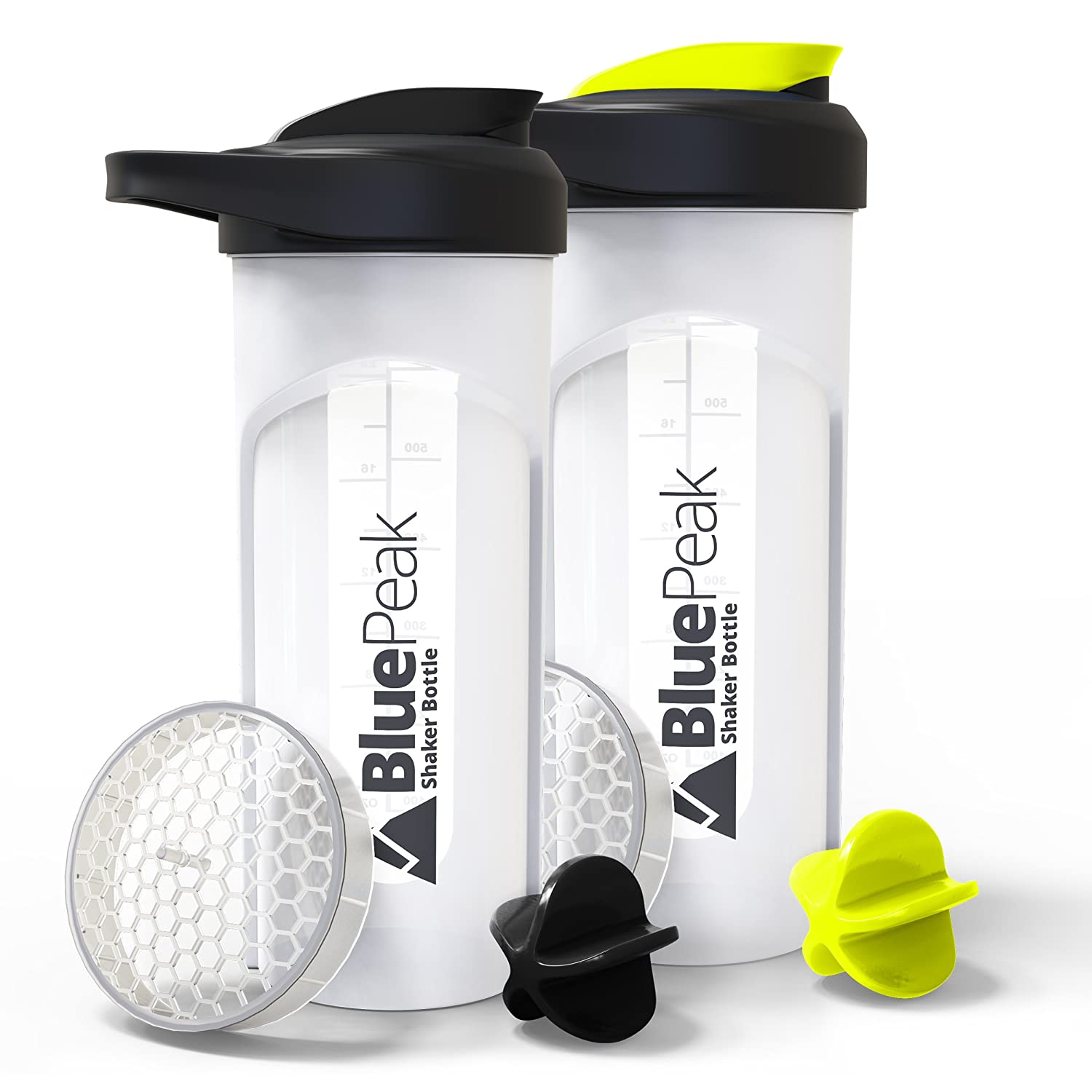 BluePeak Protein Shaker Bottle 28-Ounce, 2-Pack, with Dual Mixing Technology. BPA Free, Shaker Balls & Mixing Grids Included (Yellow-Black)