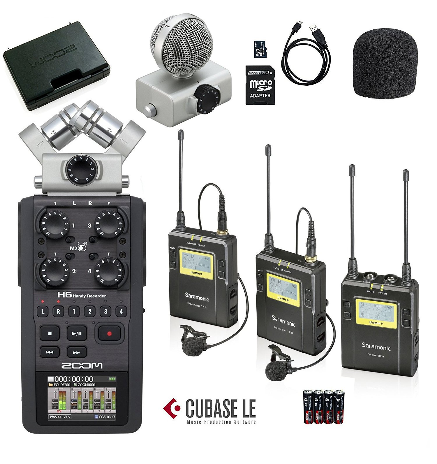 Zoom H6 Six-Track Portable Handy Recorder Bundle with Saramonic UHF Wireless Dual Lavalier Microphone System