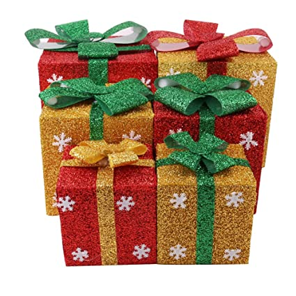 christmas gift boxes decoration lighted sparkling sisal red green yellow gift yard art decor set - Decorative Christmas Gift Boxes With Lids