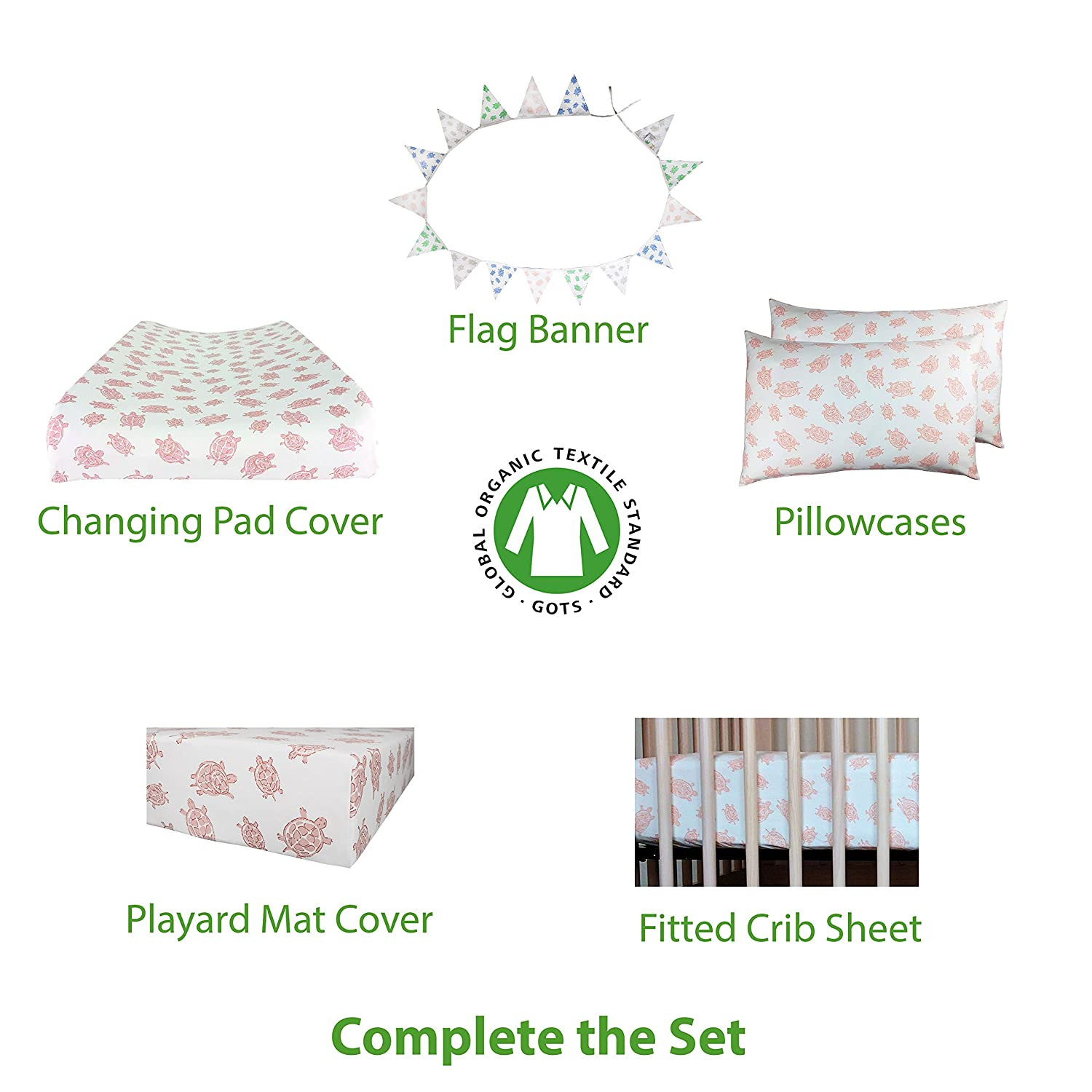 """Changing Pad Cover in 100/% Organic Cotton to Fit Standard 16/"""" x 32/"""" Pad Turtle Print Aqua"""