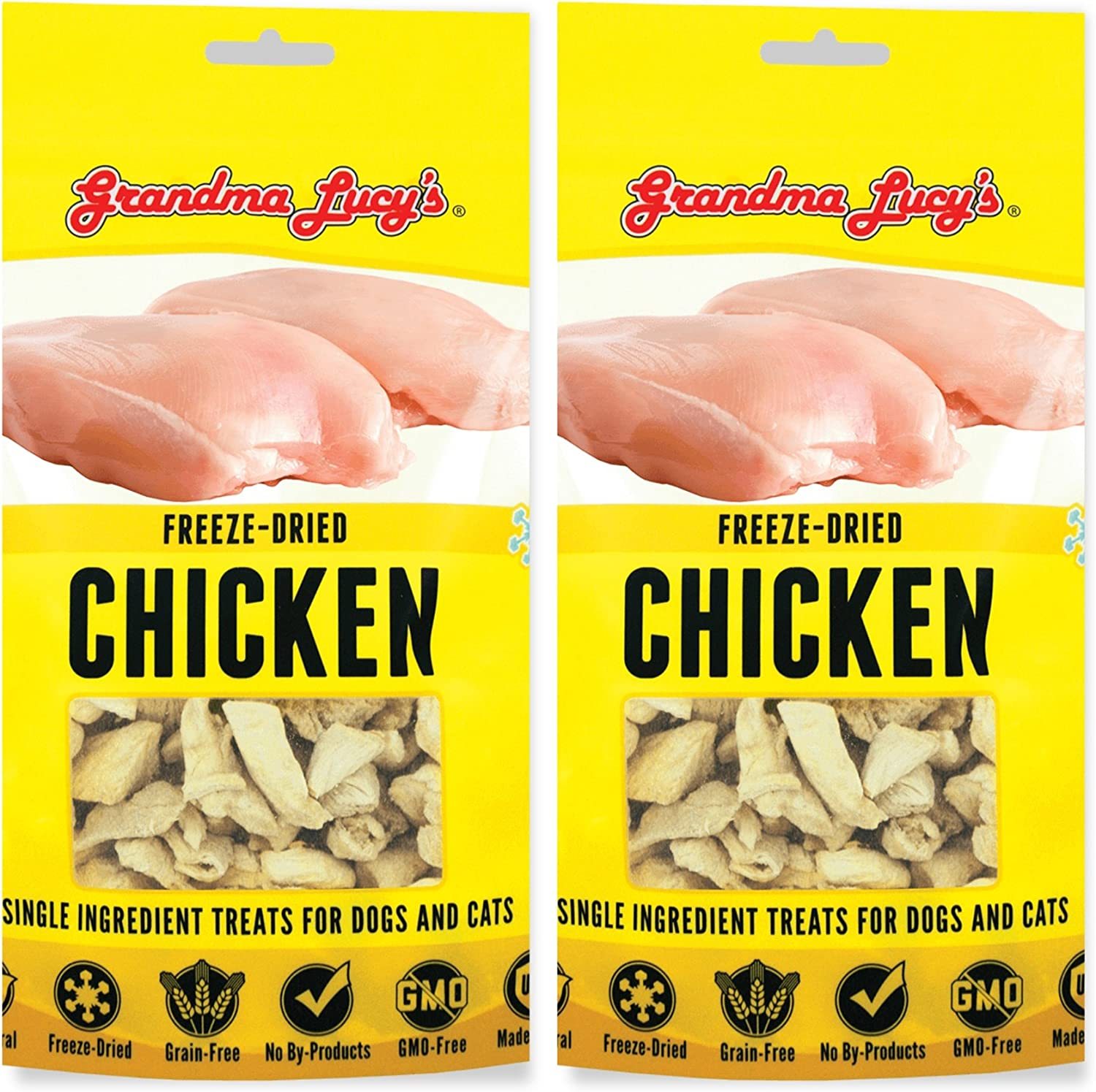 Grandma Lucy's (2 Pack) Freeze Dried Just Chicken Treat for Pets, Great for Dogs and Cats, by Just Jak's Pet Market