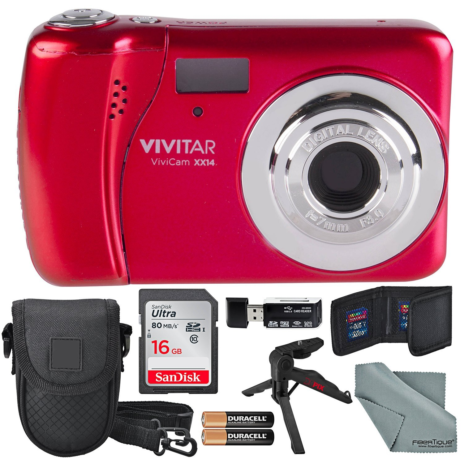 Vivitar ViviCam XX14 Digital Camera (Red) and Accessory Bundle W/ 16GB + Card Reader + Case + Xpix Tripod + Fiberitque Cleaning Cloth + Batteries + Memory Card Wallet