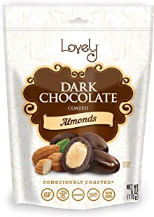 Premium Dark Chocolate Coated Almonds - Lovely Candy Co. 6oz Bag - NON-GMO, NO HFCS, Kosher & Gluten-Free   Consciously crafted in the USA!