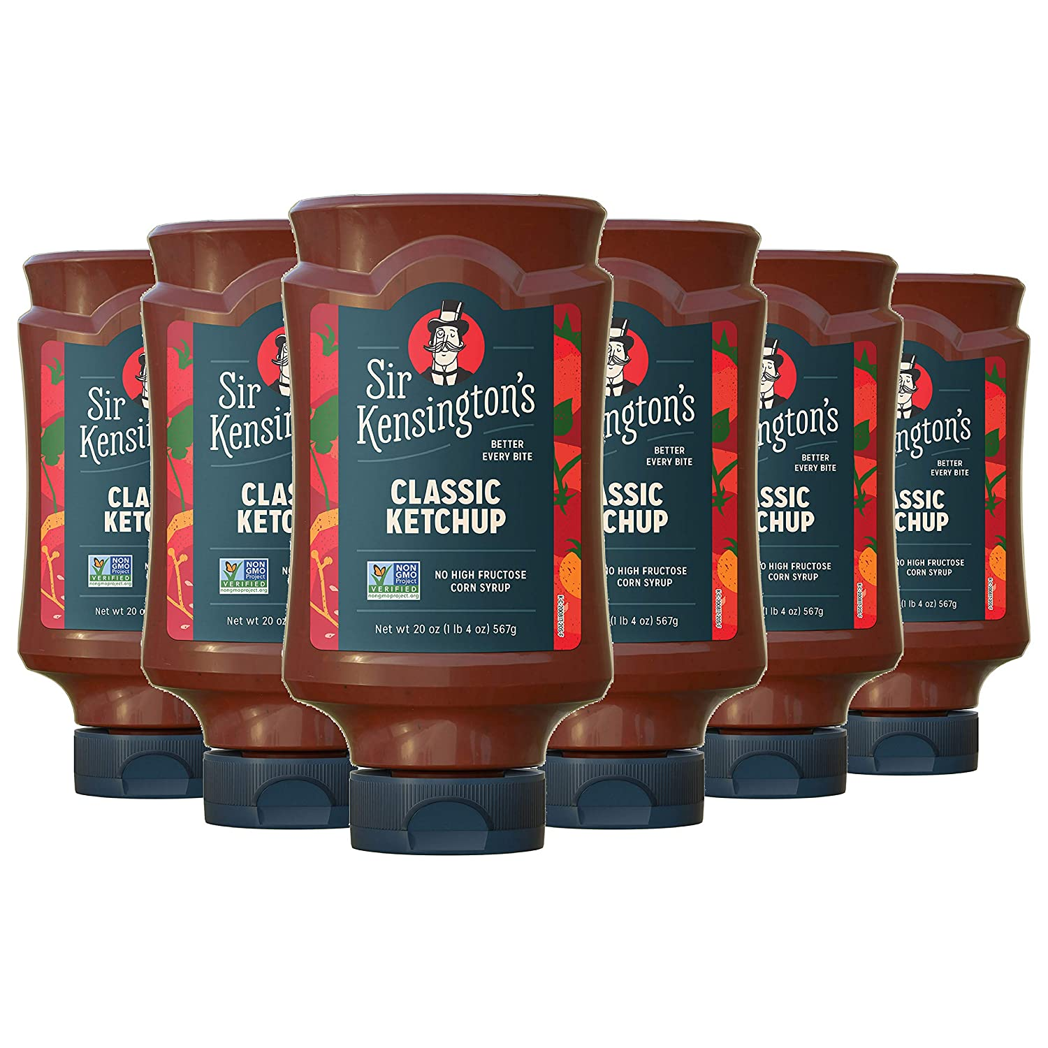 Sir Kensington's Classic Ketchup, From Whole Tomatoes, No High Fructose Corn Syrup, Gluten Free, Certified Vegan, Non- GMO Project Verified, Shelf-Stable, 20 oz pack of 6