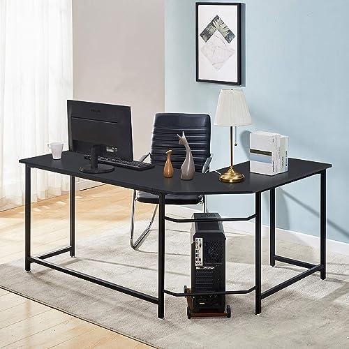 Symylife Modern L-Shape Corner Desk Computer Gaming Desk Table