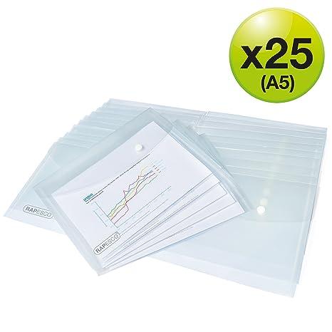 Klar A5 Druckknöpfe Plastik Dokument Mappe Pack 12