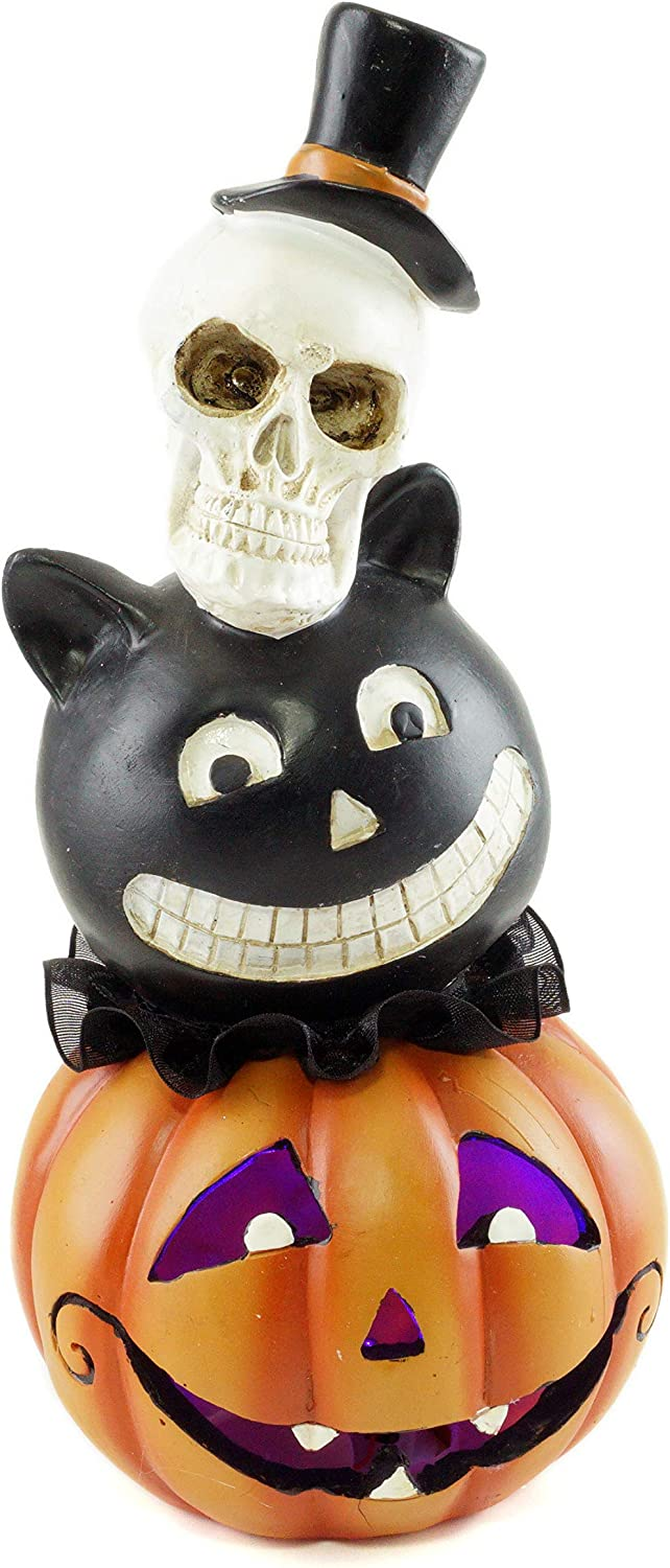 Special T Imports Skull, Cat & Jack-O-Lantern Halloween Stacked Heads Figurine