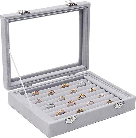 Caja almacenamiento anillo terciopelo (9 rollos) - Sostenedor del ...