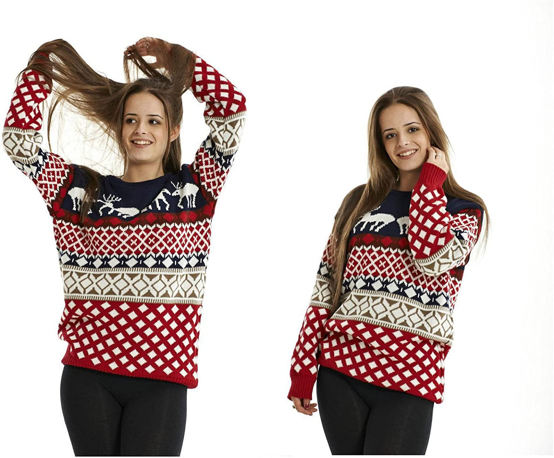 Womens Knitted Fairisle Aztec Penguin Christmas Xmas Jumper Ladies Sweater