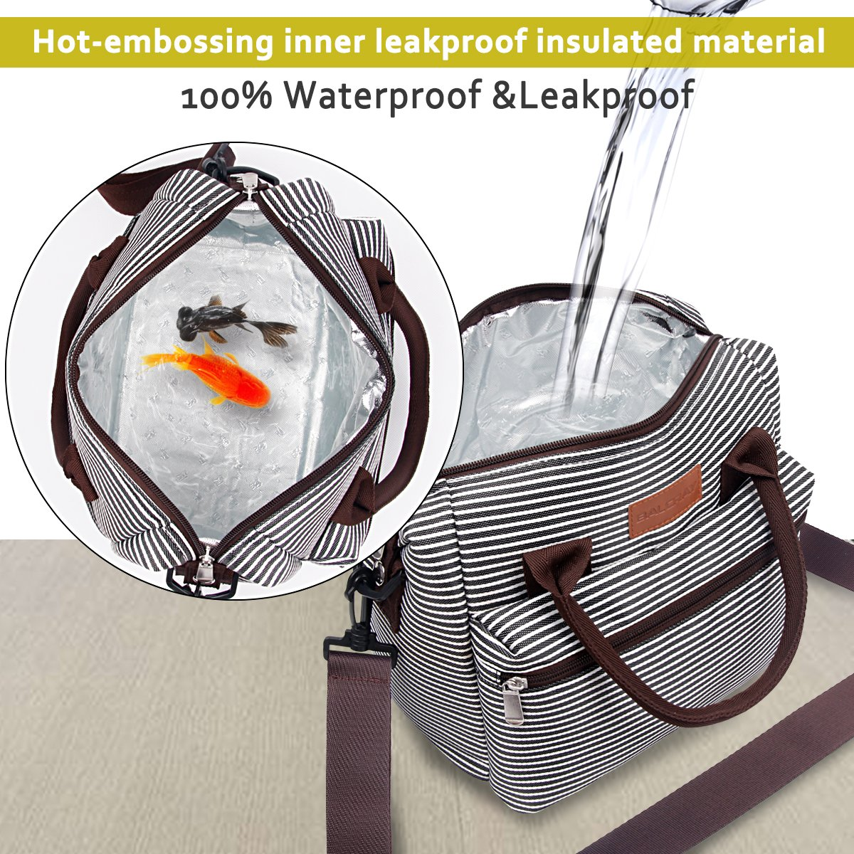 e1dae044e8d3 BALORAY Lunch Bag for Women Insulated Lunch Box with Adjustable ...