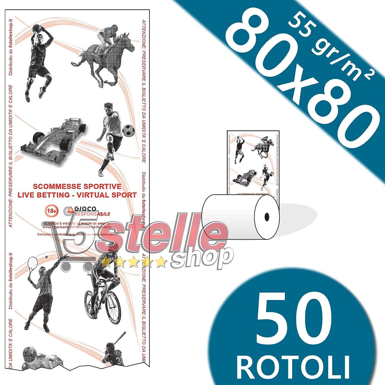 Confezione 50 Rotoli Termici 80x80 55 gr. mq stampa Scommesse Sportive Carta Termica 1^ Qualità NO OEM
