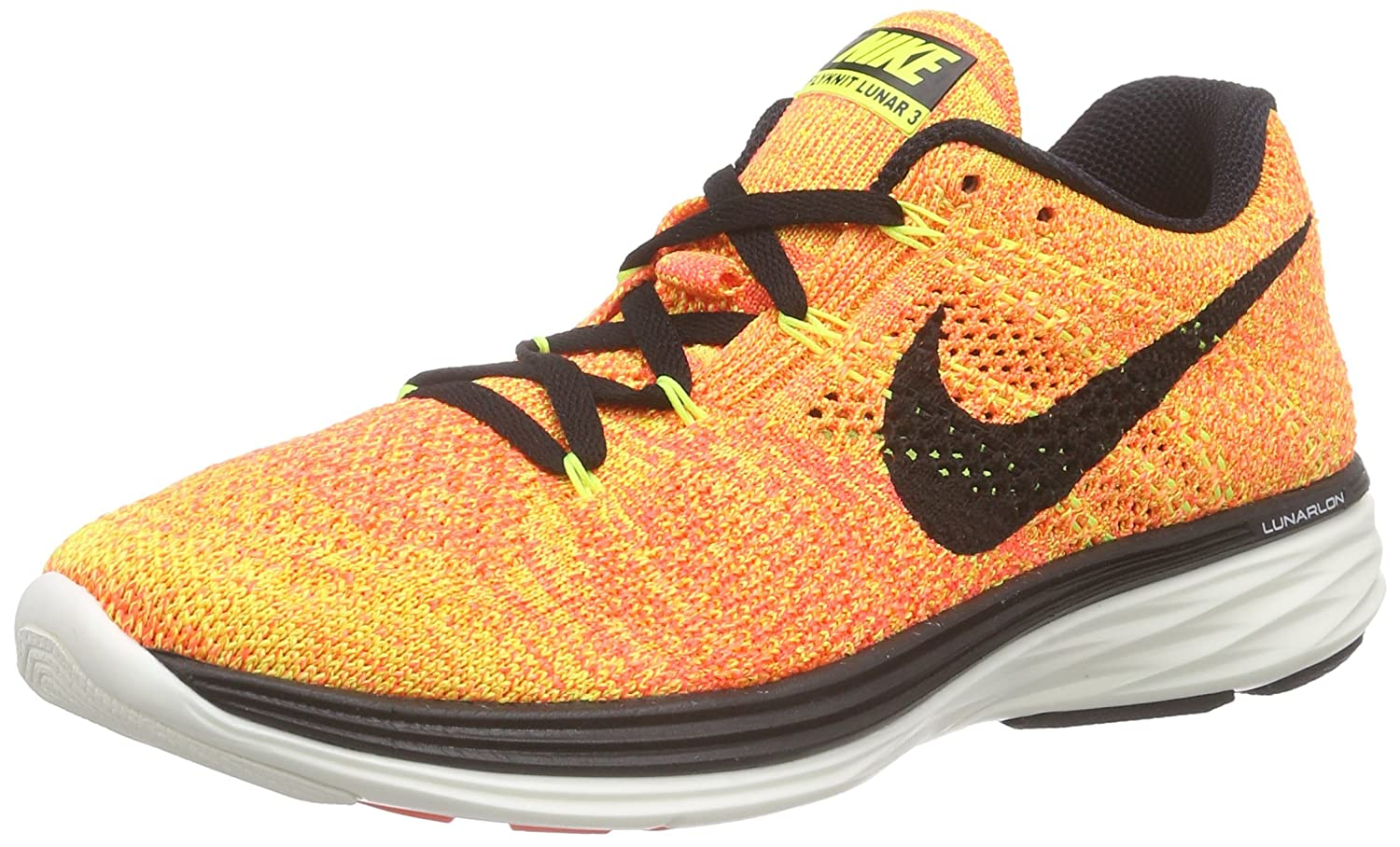 NIKE Women's B(M) Flyknit Lunar3 Running/Training Shoes B01BWLE1GY 10.5 B(M) Women's US|Volt/Black-bright Crimson-bright Mango 4e50d5