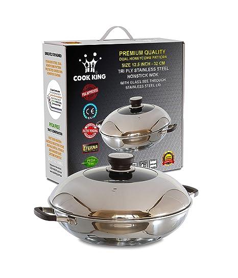 Amazon.com: Cook King - Sartén para wok/freír con tapa de ...