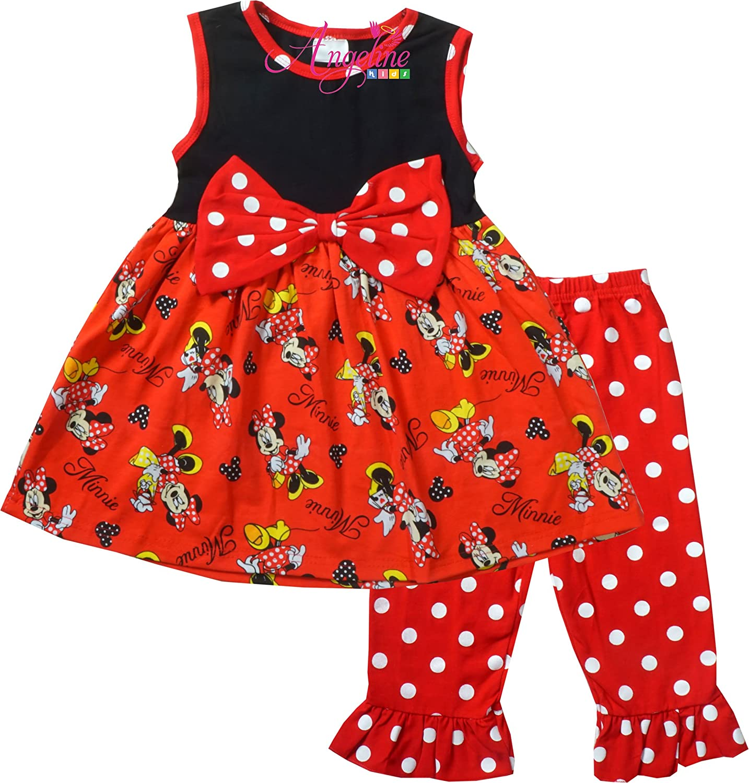 Boutique Girls Cartoon Character Disney World Minnie Mouse Polka Dot Capri Set ANPEASUM005_MinnieHead