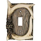 River's Edge Products Electrical Cover Plate Switch Single - Antler, Fits 1 Standard Light Switches, Screws Included