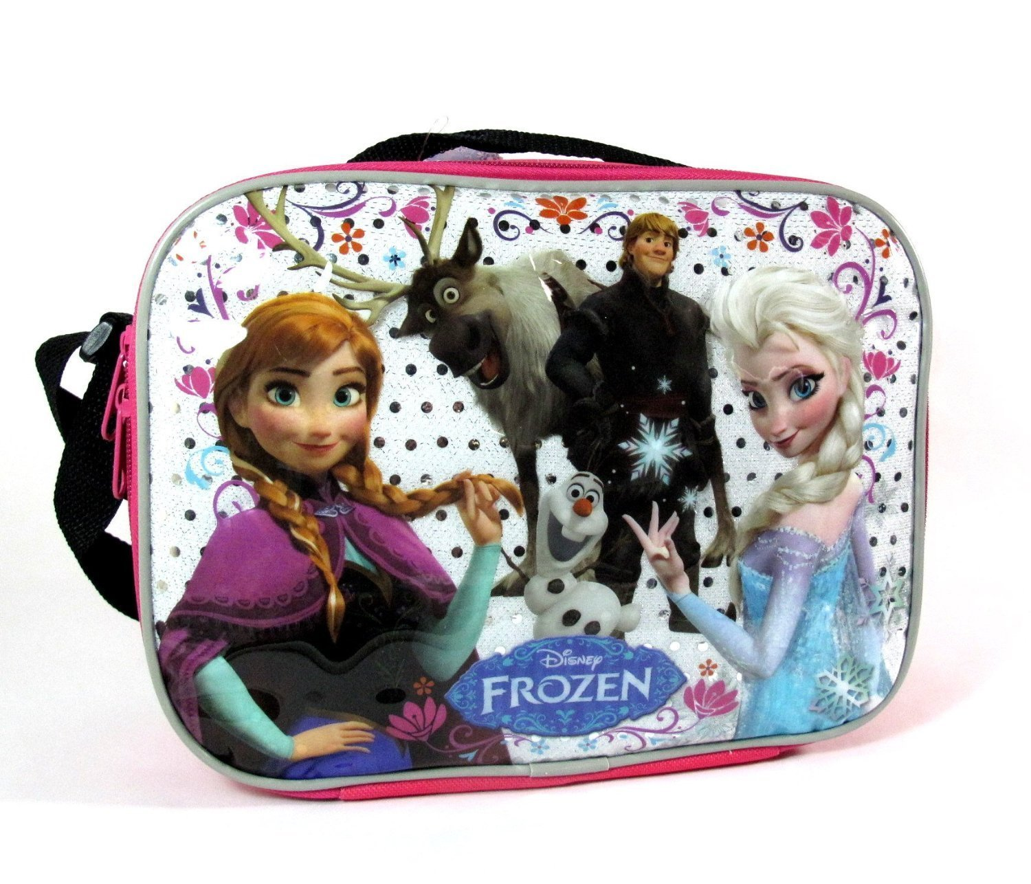 Disney Frozen Lunch Bag with Strap; Elsa Anna Olaf Kristoff Sven