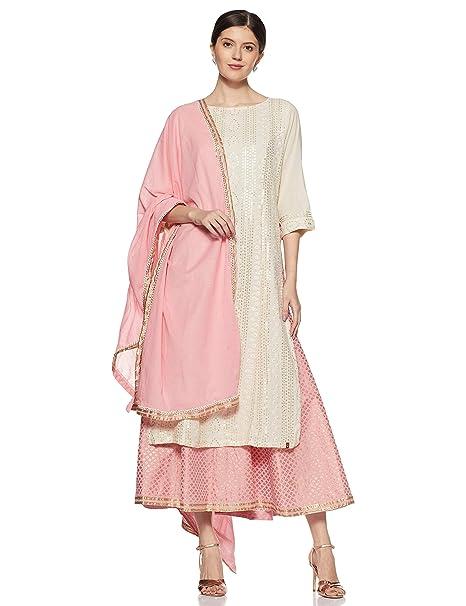 c7b08eb82da BIBA Women s Synthetic Straight Salwar Suit Set (SKD5872 Off White 36)
